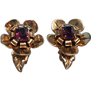 1940s Sterling Gold Vermeil Vintage Earrings Purple Glass Stones