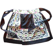 1950s Hostess Apron Vintage Unused Black Organdy Pink Floral Chintz