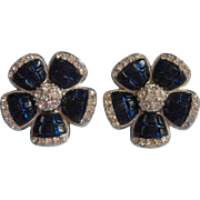 Vintage Nina Ricci For Avon Earrings Invisibly Set Faux Sapphire Rhinestone