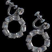 Vintage Sterling Crystal Silver Earrings Dangle Screw Back Pretty Dainty
