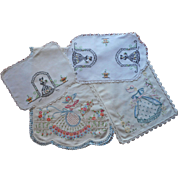 Southern Belle Vintage Hand Embroidered Linen Runners Doilies TLC or Craft