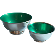 Vintage Green Enamel Lined Silver Plated Bowls Bowl Nuts Candy Pretzels
