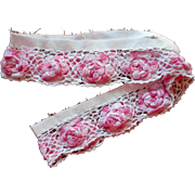 Pink Crocheted Roses Lace Trim Vintage For Pillowcase Edging