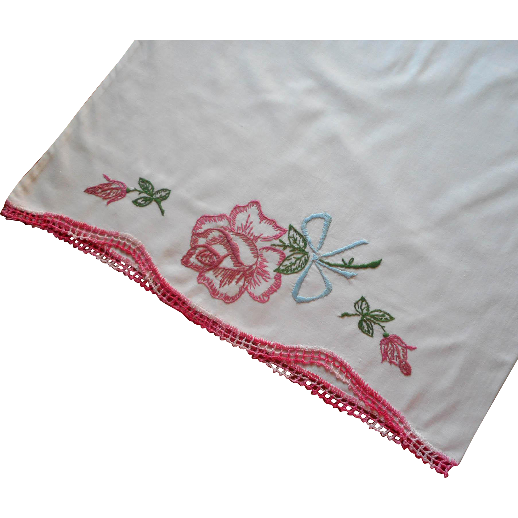 Vintage pillowcase hand embroidered pink rose blue bow