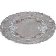 Bread Tray Doily Fine Hand Embroidered Organdy