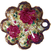 Antique Nippon China Bowl Cobalt Blue Magenta Roses Lavish Raised Gold