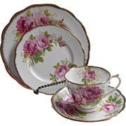Royal Albert American Beauty Trio Pink Roses Bread Tea Plate Cup Saucer China