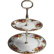 Royal Albert Old Country Roses 2 Tier Tidbit  Stand Vintage Server Tea Table
