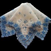 Vintage Hankie Label Original Unused Printed Cotton Blue Leaves Flowers