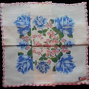 Vintage Hankie Unused Printed Cotton Blue Roses Pink Burmel Hankie Of The Month