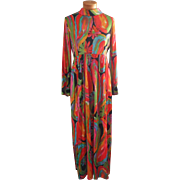 1960s Maxi Dress High Waist Groovy Colors Tricot Knit TLC