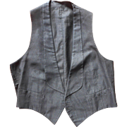 Antique Waistcoat Vest Black Corded Silk Great For Steampunk Costume