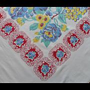 Vintage Tablecloth Kitchen Print Printed Heavy Cotton 72 x 59 TLC