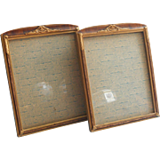 Pair Art Deco Vintage Picture Frames Wood Gesso For 8 x 10 Photo