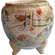 Antique Nippon Era Satsuma Jar No Lid Hand Painted China Use For Flowers