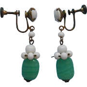 1930s Earrings Vintage Glass Drop Dangle Green White Brass