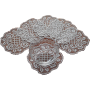 Antique Filet Lace Finger Bowl Doilies Ring Of Roses Motif Set 6