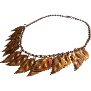 1930s Necklace Vintage Dangling Brass Leaves On Textured Chain