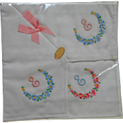 Monogram E Vintage Hankies Ireland 3 Embroidered Hankie Unused Sealed in Package