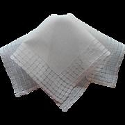 Vintage Hankie Linen All White Hemstitching Grid Work