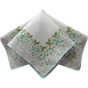 Vintage Hankie Aqua White Dainty Flowers Print Cotton Printed Handkerchief