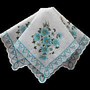 Vintage Hankie Turquoise Daisies Print Cotton Printed Handkerchief