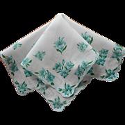 Vintage Hankie Aqua Print Flowers Cotton Printed Handkerchief