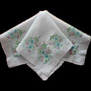 Vintage Hankie Printed Cotton Aqua Pink Green White Print Handkerchief