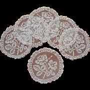 Filet Net Lace Finger Bowl Doilies Antique Set 6 Roses