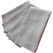 Antique Linen Damask 4 Towels Larger Size Good Quality