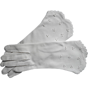 Vintage Gloves French Knots Embroidery Scalloped Hems Off White Fabric