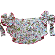 Vintage Apron Parisian Print 1950s Bustle Effect Ruffle Ties Unused