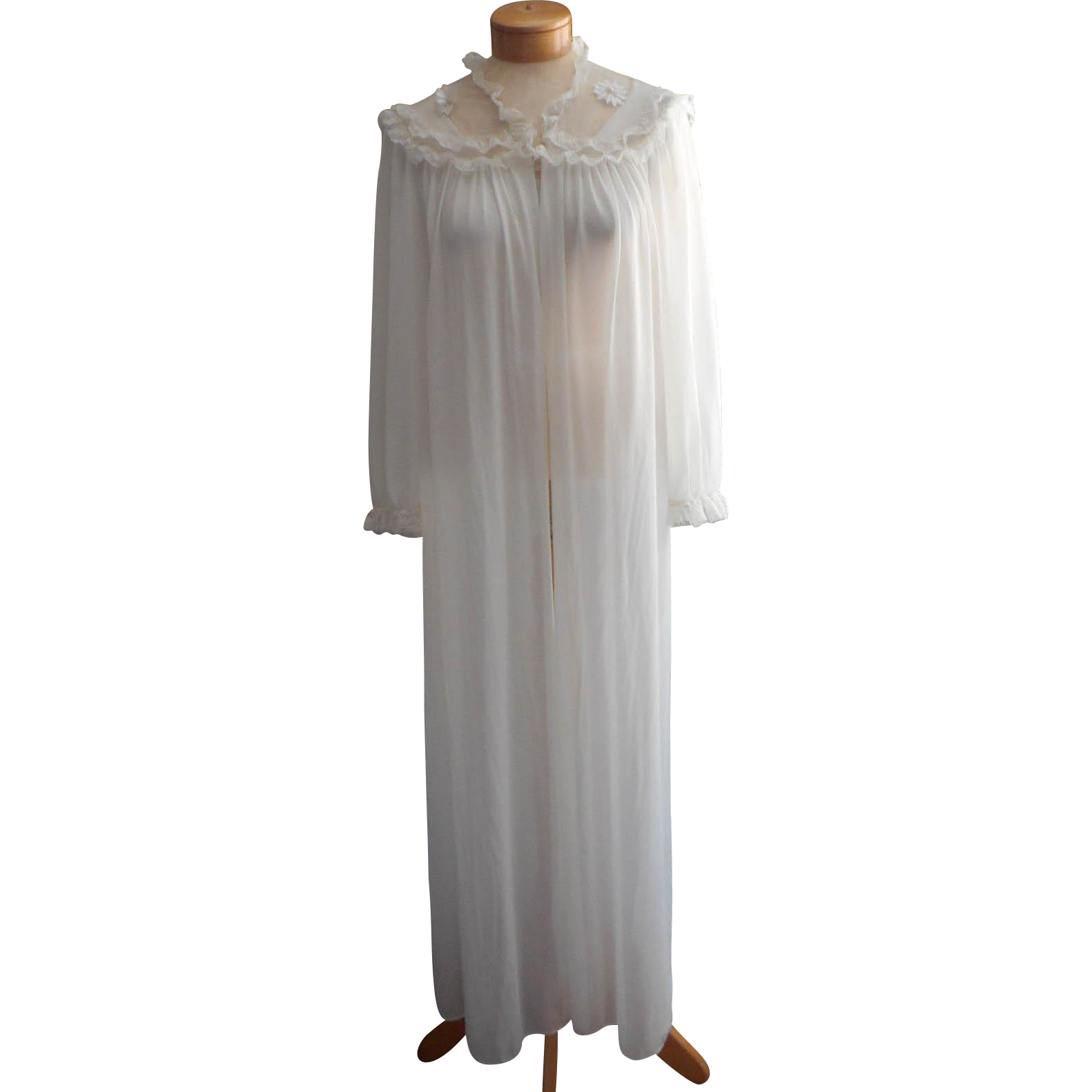 Vintage Robe Sheer Nylon Lace Flowers Bridal 1960s Long