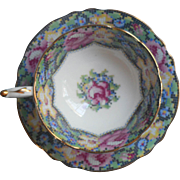 Paragon Gingham Rose Coupe Cup Saucer Double Warrant Vintage English Bone China