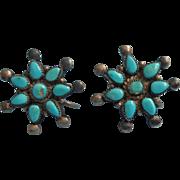 Vintage Sterling Silver Petit Point Turquoise Earrings Screw Back Flowers