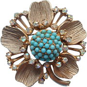 Vintage 1960s BSK Pin Faux Turquoise AB Stones Flower Form