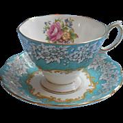 Royal Albert Enchantment Vintage Cup Saucer Aqua English Bone China
