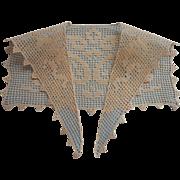 Antique Lace Collar Armistice Period Filet Crocheted