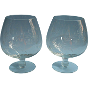 Vintage Brandy Snifters Balloon Glasses Pair Flower Leaf Cut Decoration