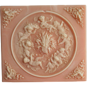 Incolay Music Jewery Box Pink Cameo Cherubs Vintage