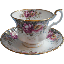 Royal Albert Autumn Roses Cup Saucer English Bone China - Red Tag Sale Item