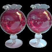 Vintage Cranberry Glass Pair Ivy Ball Vases Cut Floral Decoration