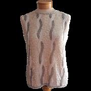 Vintage 1960s Sweater Sleeveless Beaded Glass Beads AB Sequins Medium 38