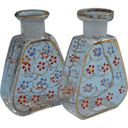 1920s Bohemian Pair Tiny Perfume Bottles Enameled Glass No Stoppers