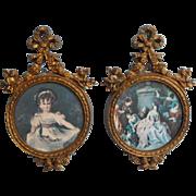 Vintage Italian Pair Ornate Little Frames Bows Cherubs 1950s