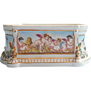 Antique French Porclelain Box Base Hand Painted Cherubs No Lid