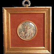 Vintage Print Miniature Convex Glass Velvet Matte Gilt Wood Frame