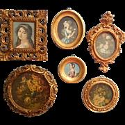 Vintage Italian Small Frames Gilt Gesso Wood 1 Plastic Midcentury