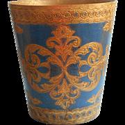 Vintage Italian Tole Florentine Waste Basket Blue Gold Italy