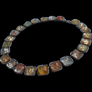 1920s Fishel Nessler Necklace Vintage Glass Brass Faux Rock Crystal